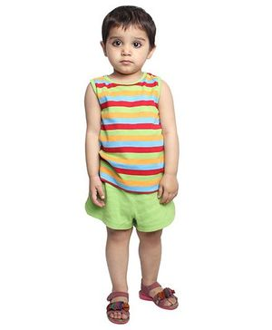 Nino Bambino Organic Cotton Sleeveless Top And Shorts Striped Print - Green & Multicolor