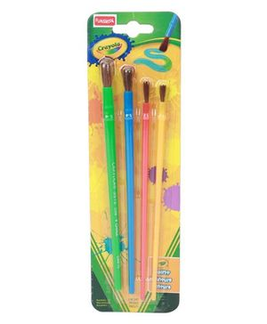 Crayola Arts & Crafts Brushes Green Blue Pink Yellow- Set Of 4