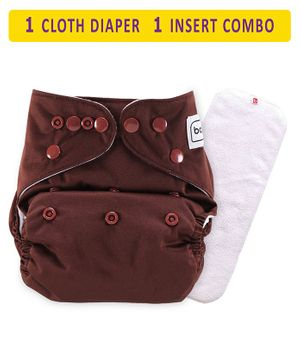 Babyhug Free Size Reusable Cloth Diaper With Insert - Coffee Brown