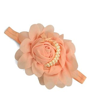 Little Miss Cuttie Flower & Pearl Headband - Peach