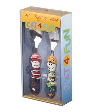 Eat4Fun Kiddos Kids Cutlery Gift Set Sam and Ben Pack of 2 - Multi Color