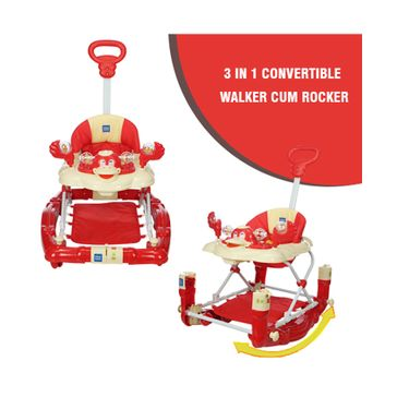 Mee Mee Baby Walker with Rocker Function 2-in-1 (Red)