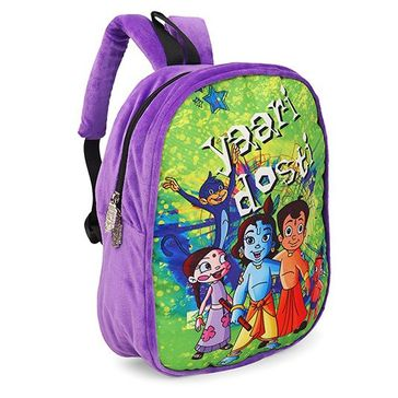 Chhota Bheem Plush School Bag Purple - 13 inches
