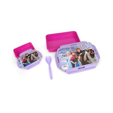 Disney Frozen Slim Lunch Box With Fork Spoon - Purple Pink