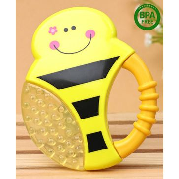 Babyhug Bee Multi Textured Water Filled Teether With Soft Sound Rattle - Yellow