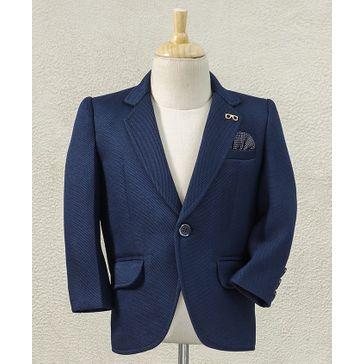 Babyhug Full Sleeves Blazer With Pocket - Navy Blue
