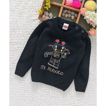 Babyhug Full Sleeves Sweater Robot Embroidery - Dark Navy Blue