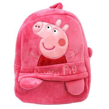 Frantic Velvet Nursery Peppa Pig Bag Pink - Height 14 inches