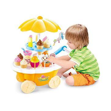 Toyshine Ice Cream Kitchen Play Cart Kitchen Set With Lights & Music - Yellow