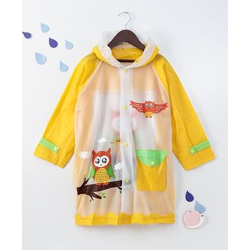 Full Sleeves Hooded Raincoat Owl Print - Yellow White