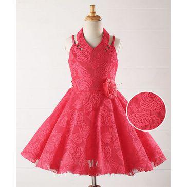 Babyhug Halter Neck Embroidered Party Wear Dress - Coral