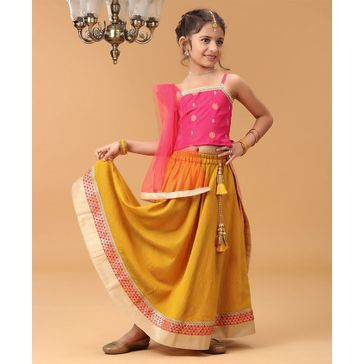 Babyhug Embroidered Choli & Lehenga Set With Net Dupatta - Pink Yellow