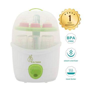 R for Rabbit Automatic Baby Bottle Steam Steriliser White Green - Fits 6 Bottles
