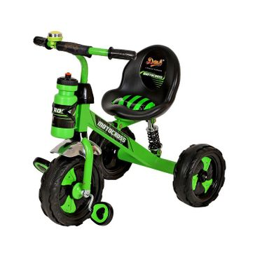 Dash Motocross Stylish Tricycle With Sipper Bottle - Green & Black