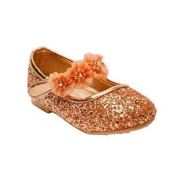 Little Soles Sequin Design Ballerinas - Dark Gold