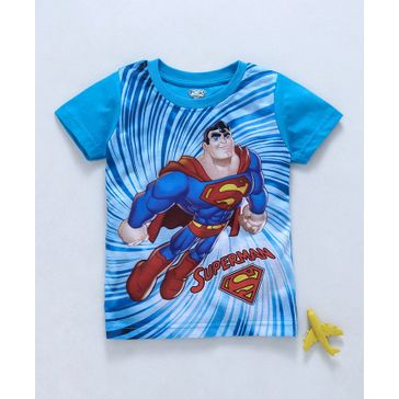 Eteenz Half Sleeves T-Shirt Superman Print - Teal Blue