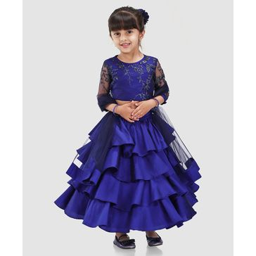 Saka Designs Lehenga With Three Fourth Sleeves Choli & Dupatta - Navy Blue