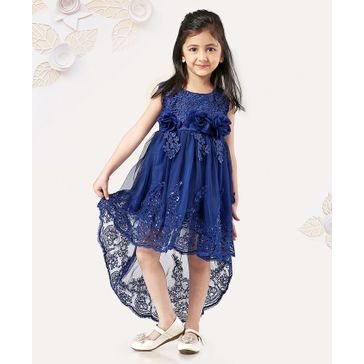 Mark & Mia Sleeveless Frock With Lace Pattern & Flower Corsages - Navy