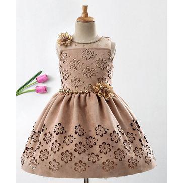 Enfance Flower Cut Work Sleeveless Dress - Brown