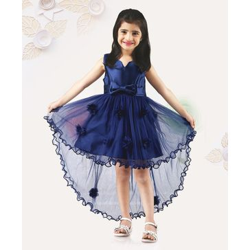 Mark & Mia Sleeveless Frock Flower & Bow Applique - Blue