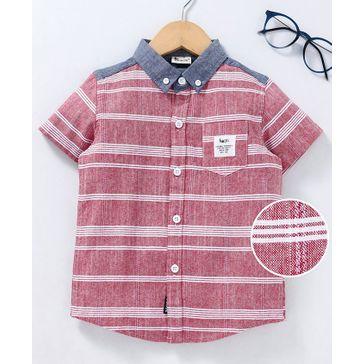Kookie Kids Half Sleeves Shirt Horizontal Stripes - Red & Grey