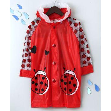 Raincoat With Hood Bug Print - Red