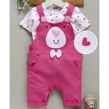 Babyhug Dungaree With Half Sleeves Tee Teddy Applique - White & Pink
