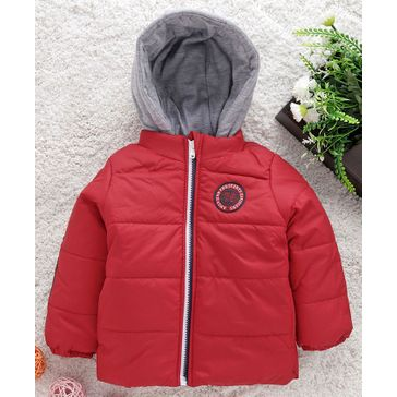 Babyhug Full Sleeves Hooded Jacket American Pro Patch - Red