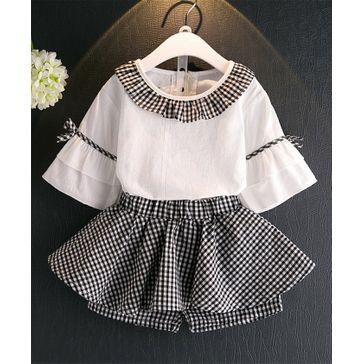 57d555101 Pre Order - Awabox Checked Short Sleeves Dress - Black - 524.3 INR ...