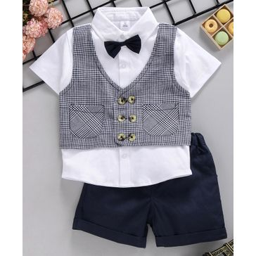 ToffyHouse Party Wear Half Sleeves Shirt With Waistcoat and Shorts - Navy Blue White