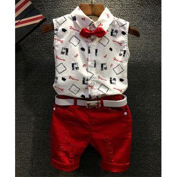 Pre Order - Awabox Printed Sleeveless Shirt & Shorts Set - White & Red