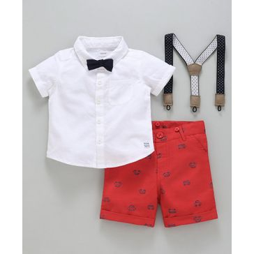 Babyoye Half Sleeves Shirt With Car Printed Shorts Suspenders & Bow - White Red