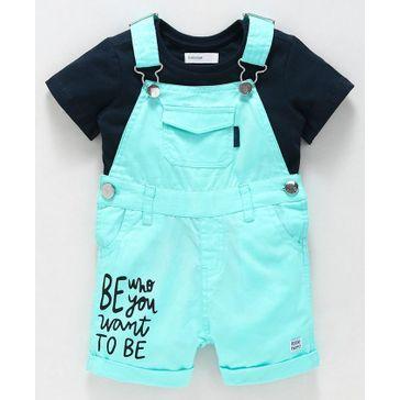 Babyoye Cotton Dungaree With Tee - Navy Blue