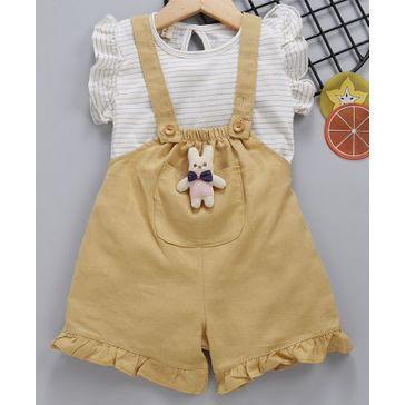Kookie Kids Solid Dungaree With Inner Flutter Sleeves Striped Top - Mustard