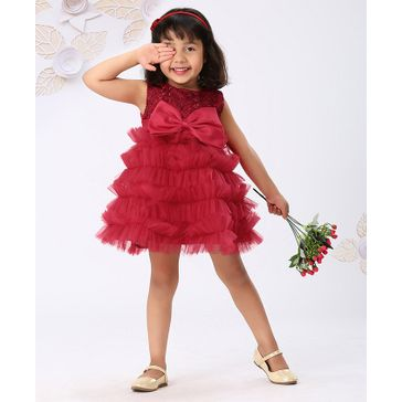 Mark & Mia Sleeveless Party Wear Frock Floral Embroidery - Red