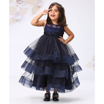 Mark & Mia Sleeveless Layered Party Frock With Floral Embroidered Bodice - Navy Blue