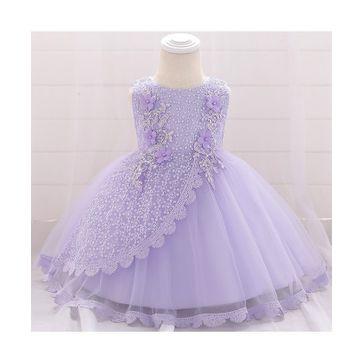 Pre Order - Awabox Sleeveless Flower Decorated Sequin Embellished Dress - Purple