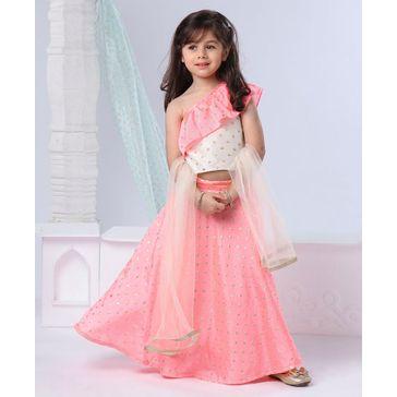 Babyoye Embellished Lehenga & Sleeveless Choli Set With Dupatta Diamond Design - Peach
