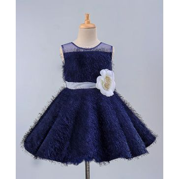 Maalka Sleeveless Flower Decorated Faux Fur Dress - Navy Blue