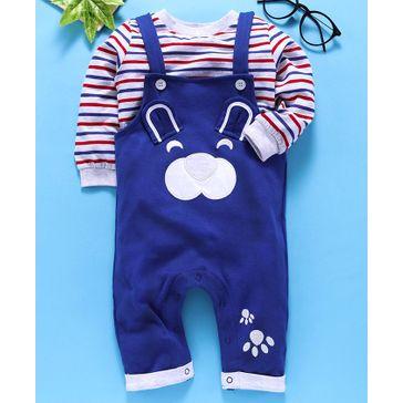 Babyhug Dungaree Style Romper With Stripe Tee Bear Design - Royal Blue Light Grey