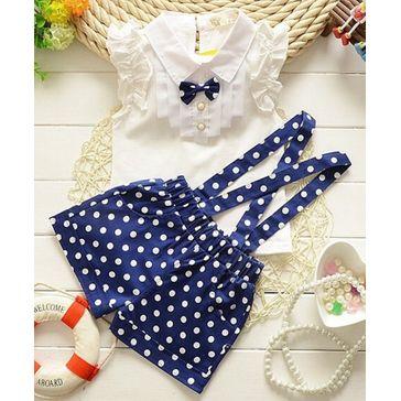 Pre Order - Awabox Sleeveless Top & Polka Dot Print Shorts Set - Navy Blue