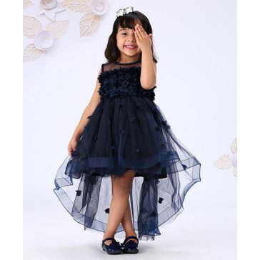 Mark & Mia Sleeveless Party Wear Embroidered Frock - Navy Blue