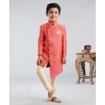 Babyhug Full Sleeves Asymmetric Style Solid Sherwani With Pocket Square - Orange