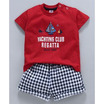 Zero Half Sleeves Graphic Print Tee & Chequered Shorts Set - Red