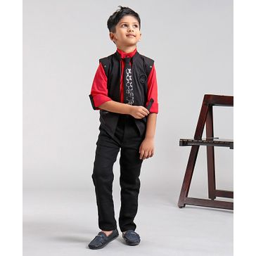 Dapper Dudes Solid Full Sleeves 3 Piece Party Suit With Tie - Black