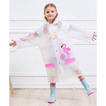 Pre Order - Awabox Full Sleeves Flamingo Print Raincoat - Pink