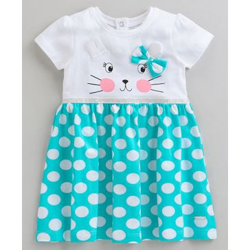 Buy Babyoye Short Sleeves Cotton Frock Kitty Print Turquoise for Girls  (6-12 Months) Online in India, Shop at FirstCry com - 2891073