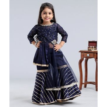 Enfance Three Fourth Sleeves Floral Embroidered Kurta With Sharara - Navy Blue