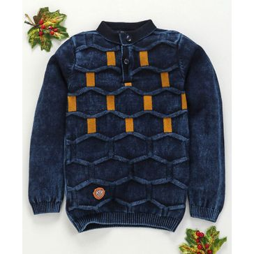 Noddy Flat Knit Weaves Full Sleeves Sweater - Navy Blue & Yellow