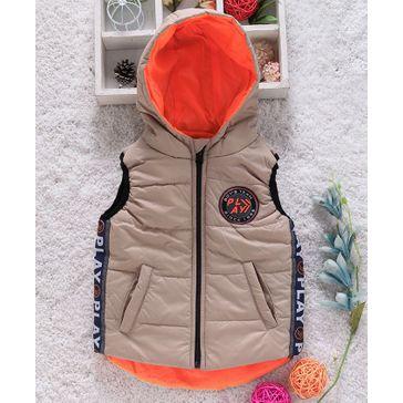 Little Kangaroos Sleeveless Padded Hooded Jacket Play Patch - Khaki Orange